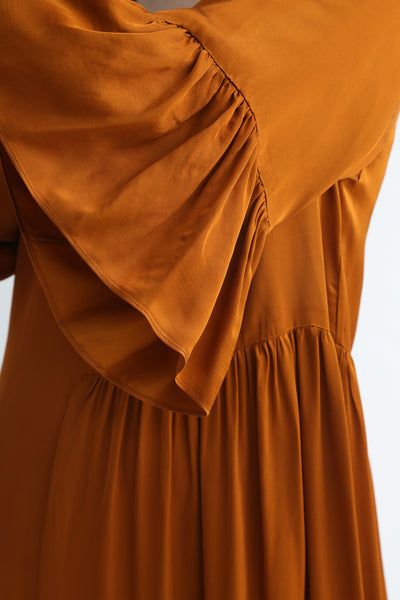 Correll Correll Coco Dress in Tumeric sleeve ruffle detail view