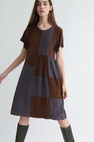 Correll Correll Checky Dress in Brown + Grey on model view front