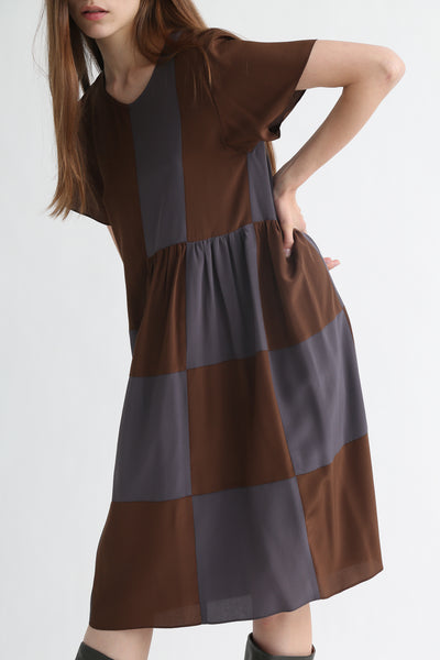 Correll Correll Checky Dress in Brown + Grey  on model view side