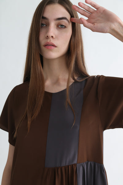 Correll Correll Checky Dress in Brown + Grey front neckline detail view