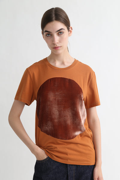 Correll Correll Velvet T-Shirt in Tumeric on model view front