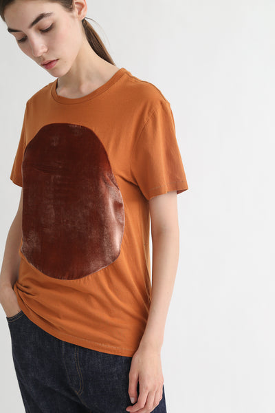Correll Correll Velvet T-Shirt in Tumeric on model view side