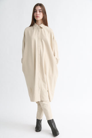 Black Crane Long Shirt Dress in Natural on model view front