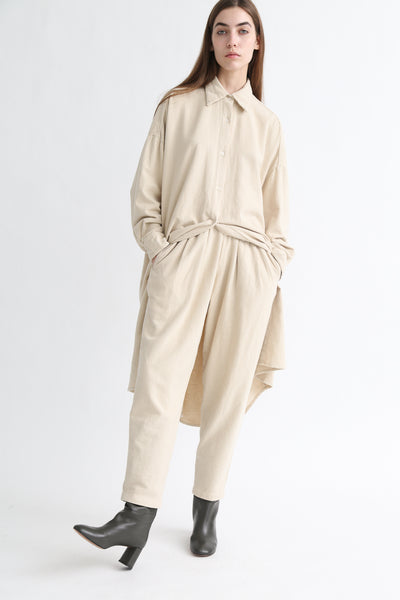 Black Crane Carpenter Pants in Natural on model view front