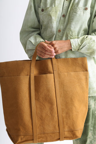 Amiacalva Washed Canvas 6 Pockets Tote in Mustard handle detail view