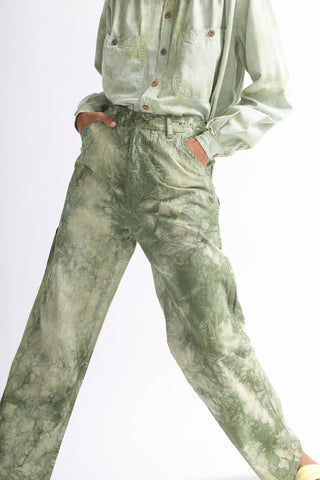 Dr. Collectors Painter Pants in Cloud Sage front pocket detail view