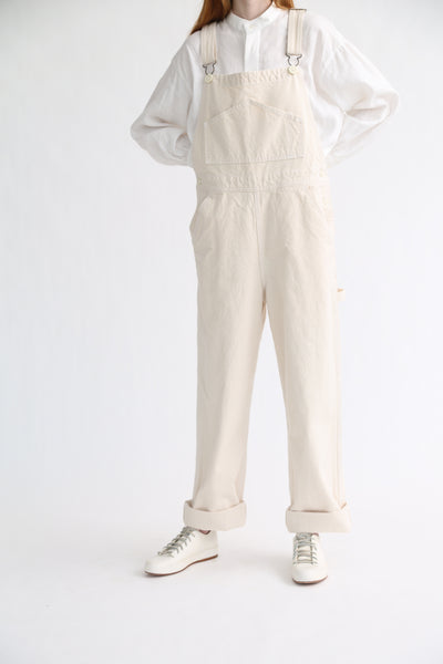 Jesse Kamm Overalls - Organic Canvas in Natural on model view front