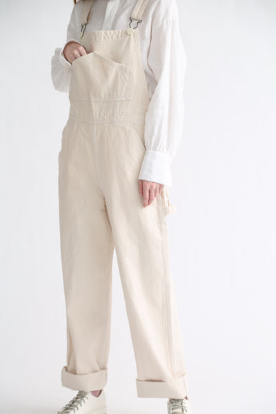 Jesse Kamm Overalls - Organic Canvas in Natural on model view side