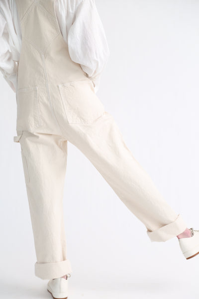 Jesse Kamm Overalls - Organic Canvas in Natural back leg detail view