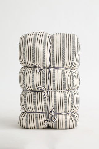 Tensira Mattress/Bedroll in Kapok in Black/Off-White Stripe