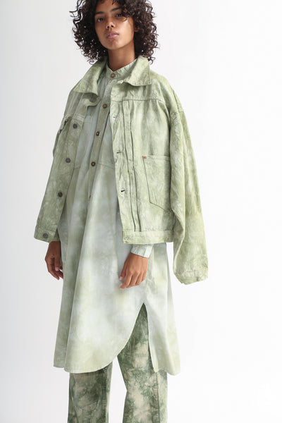 Dr. Collectors 2020 Denim Jacket in Cloud Sage on model view side