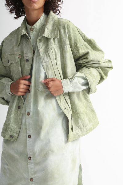 Dr. Collectors 2020 Denim Jacket in Cloud Sage front opening detail view
