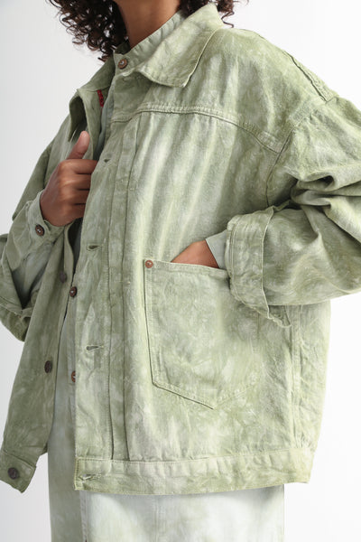 Dr. Collectors 2020 Denim Jacket in Cloud Sage pocket detail view