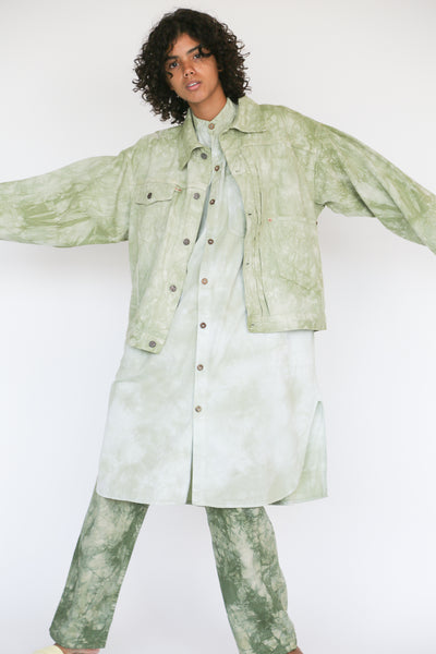 Dr. Collectors 2020 Denim Jacket in Cloud Sage on model view front