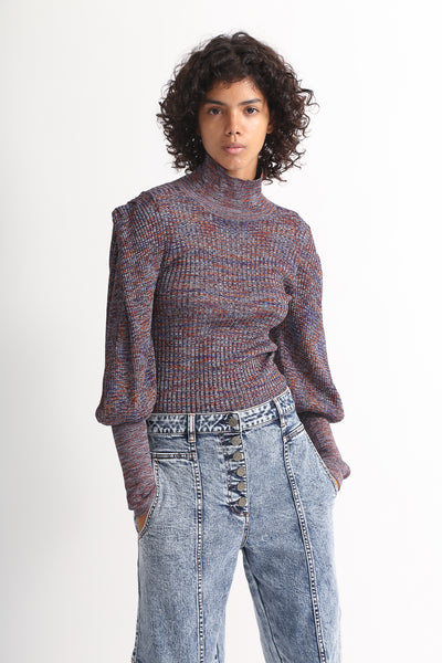 Ulla Johnson Josie Turtleneck in Plum on model view front