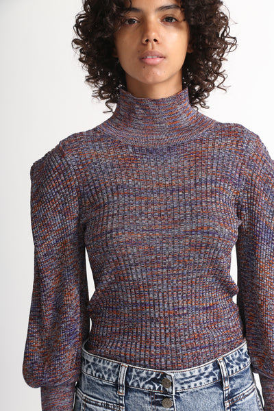 Ulla Johnson Josie Turtleneck in Plum neck detail view front