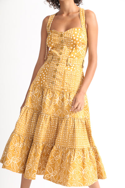 Ulla Johnson Stevie Dress in Ochre Batik on model view front