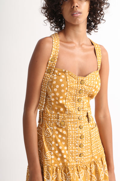 Ulla Johnson Stevie Dress in Ochre Batik bodice detail view front