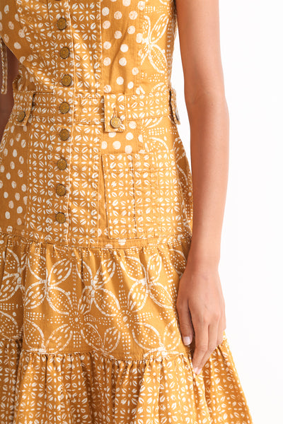 Ulla Johnson Stevie Dress in Ochre Batik waist detail view front