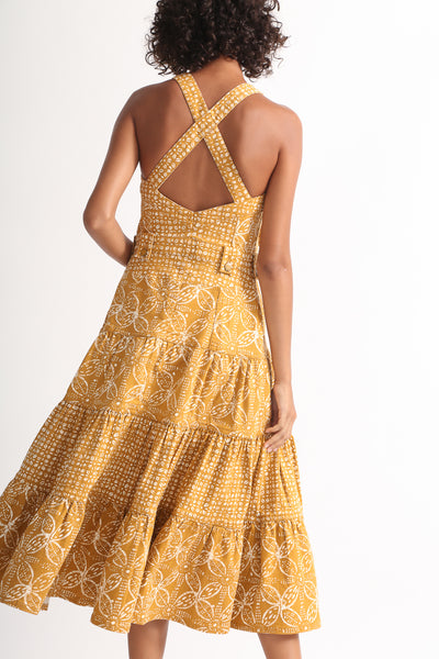 Ulla Johnson Stevie Dress in Ochre Batik on model view back