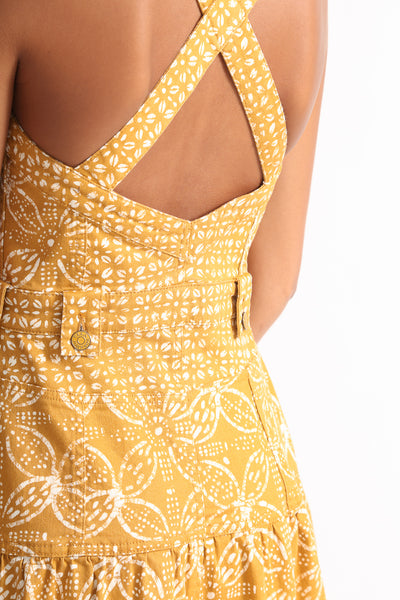Ulla Johnson Stevie Dress in Ochre Batik detail view back
