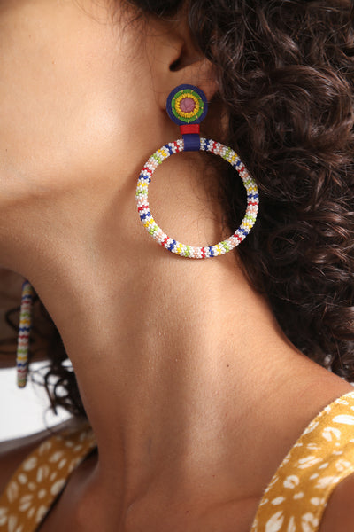 Robin Mollicone One-of-a Kind Large Beaded Hoop Earrings in Multi Stripe/Rhodonite