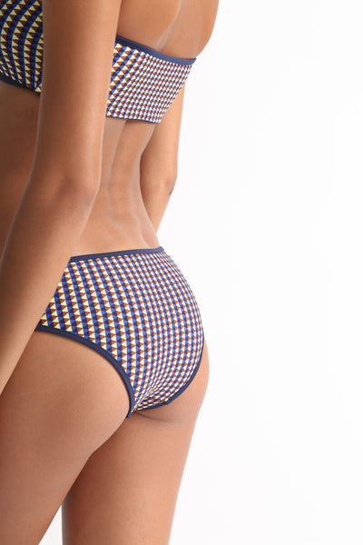 Laura Urbinati Fascia Bikini in Navy / Brown on model view back