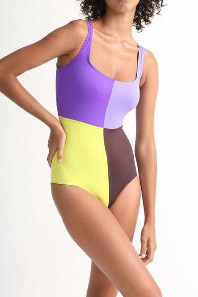 Laura Urbinati 4 Colori One Piece in Purple / Lilac / Acid / Brown / Black / Off White on model view front
