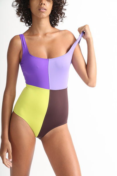Laura Urbinati 4 Colori One Piece in Purple / Lilac / Acid / Brown / Black / Off White onmodel view front