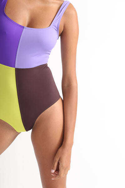 Laura Urbinati 4 Colori One Piece in Purple / Lilac / Acid / Brown / Black / Off White front detail view