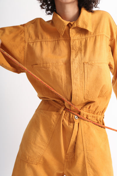 Dr. Collectors Mecano Jumpsuit in Cloud Pumpkin pocket detail view front