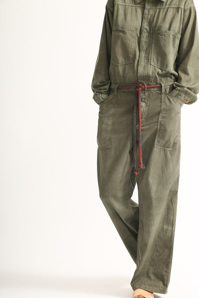 Dr. Collectors Mecano Jumpsuit in Cloud Avocado hip pocket detail view front