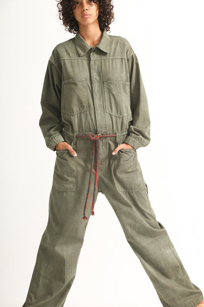 Dr. Collectors Mecano Jumpsuit in Cloud Avocado on model view front