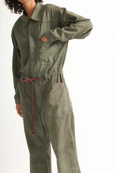 Dr. Collectors Mecano Jumpsuit in Cloud Avocado pocket detail view front