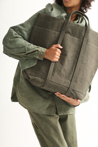 Amiacalva Washed Canvas 6 Pockets Tote in Khaki handle detail view front