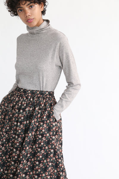 Ichi Antiquites Floral Linen Skirt in Black pocket detail view