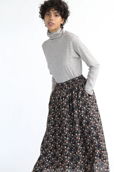 Ichi Antiquites Floral Linen Skirt in Black on model view side