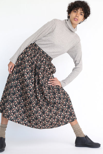 Ichi Antiquites Floral Linen Skirt in Black on model view front