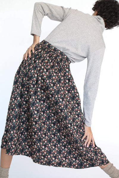 Ichi Antiquites Floral Linen Skirt in Black on model view back