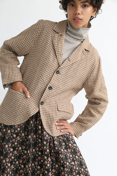 Ichi Antiquites Jacket - Linen in Camel Gingham on model view front