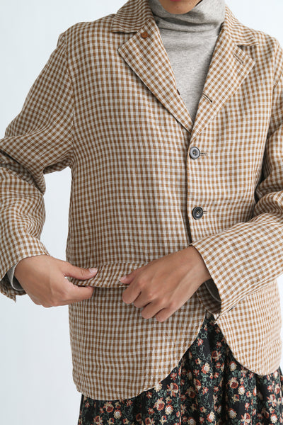 Ichi Antiquites Jacket - Linen in Camel Gingham flap pocket detail