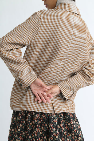 Ichi Antiquites Jacket - Linen in Camel Gingham on model view back