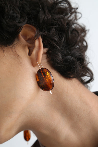 Mary MacGill Stone Drop Earrings - Large in Red Amber on model view