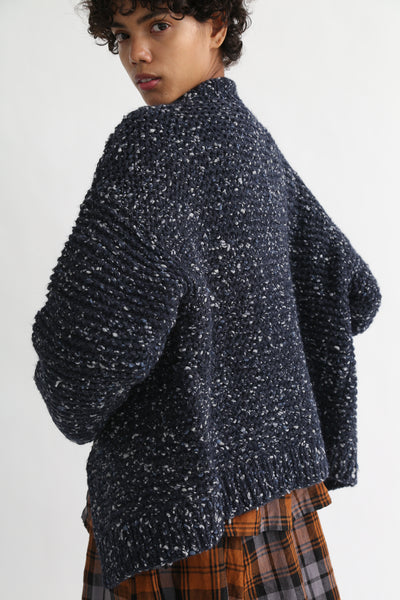Ichi Antiquites Cardigan in Navy on model view back