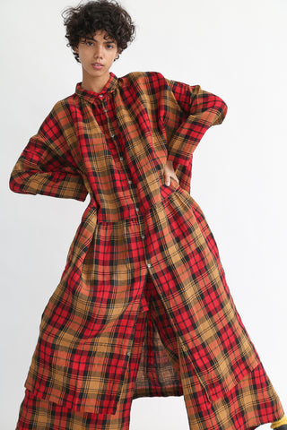 Ichi Antiquites Dress - Linen Tartan Check in Red on model view front