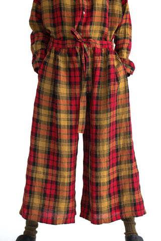 Ichi Antiquites Pant - Linen Tartan Check in Red on model view front