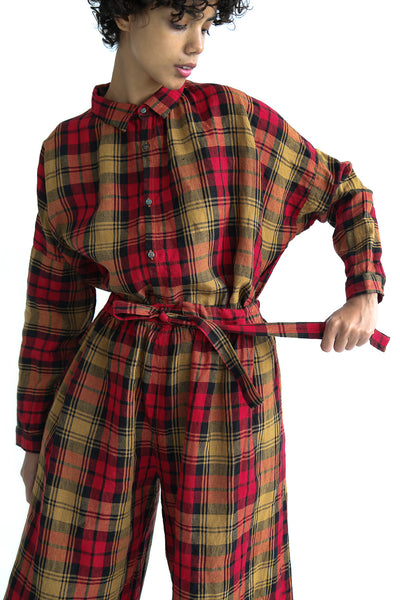 Ichi Antiquites Shirt - Linen Tartan Check in Red on model view front