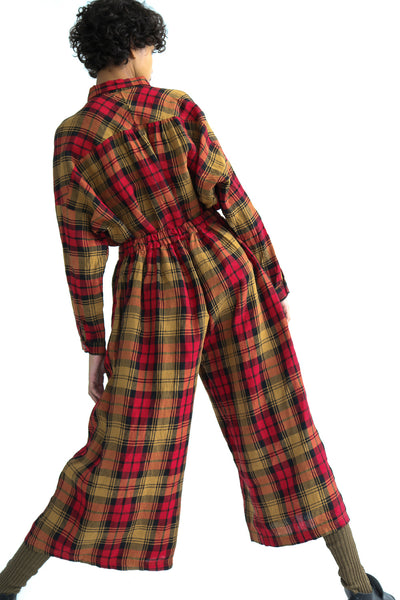 Ichi Antiquites Shirt - Linen Tartan Check in Red on model view back