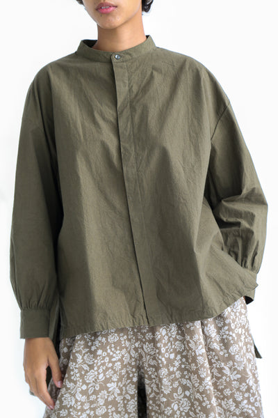 Ichi Antiquites Cotton Shirt in Khaki front detail view