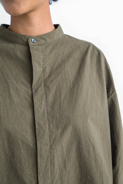 Ichi Antiquites Cotton Shirt in Khaki collar detail view